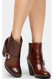 Bota Couro Cano Curto Shoestock Fivela Feminina - Feminino-Marrom