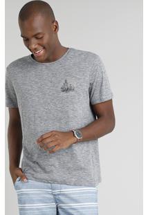 Camiseta Masculina Marocco Manga Curta Gola Careca Cinza Mescla Escuro