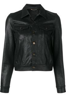 Saint Laurent Jaqueta Jeans Com Efeito Encerado - Preto