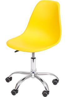 Cadeira Eames Dkr Rodizio- Amarela & Prateada- 93X47Or Design