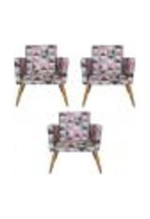 Conjunto 3 Poltronas Decorativas Nina Triângulo Rosa - Bela Casa Shop