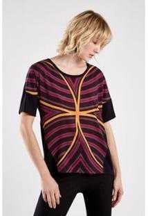 Camiseta Sacada Malha Est Optical Feminina - Feminino-Preto+Roxo