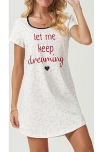 Camisola Espaço Pijama Feminina - Feminino-Branco
