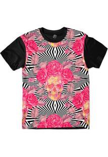 Camiseta Bsc Padrões E Listras Caveiras E Flores S Sublimada - Masculino-Branco