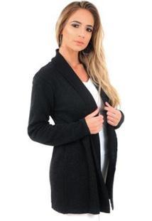 Casaco Cardigan Livora Tricot Lurex Star Feminina - Feminino-Preto