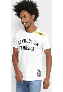 Camiseta Manga Curta Colcci Estampada Revolution Y Musica Masculina - Masculino