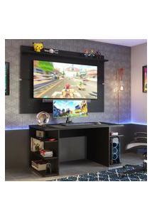 Mesa Para Computador Gamer E Painel Tv Madesa - Preto Preto