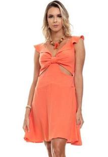 Vestido Clara Arruda Detalhe Frontal Liso Feminino - Feminino-Coral