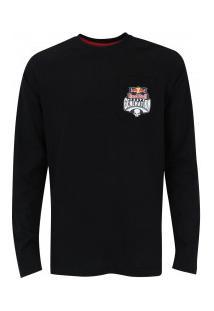 Camiseta Manga Longa Red Bull Pocket Logo - Masculina - Preto