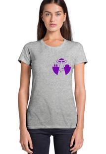 Camiseta Feminina Joss Abducao Roxo Cinza