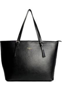 Bolsa Couro House Of Caju Shopping Bag Lisa Espaçosa Feminina - Feminino-Preto