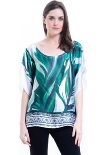 Blusa 101 Resort Wear Poncho Crepe Cetim Estampado Folhas Verde