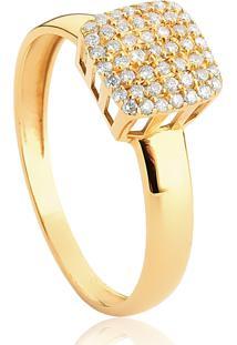 Anel De Ouro 18K Pavê Quadrado De Diamantes-Coleção Engaged