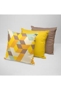 Kit 3 Almofadas Decorativas Geométrico Amarelo