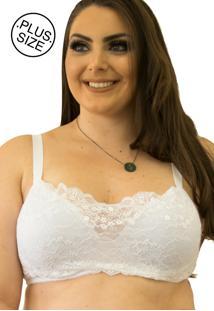 Sutiã Katina Renda Larga Qtal Lingerie Plus Size Básico Branco