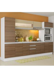 Cozinha Completa 100% Mdf Madesa Smart 300 Cm Modulada Com Armário, Balcão E Tampo Branco