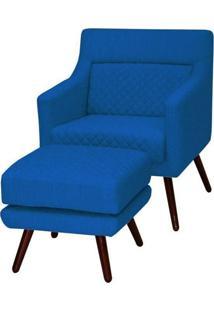 Poltrona Mary Com Puff Veludo Azul - Gran Belo