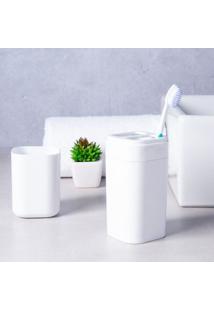 Porta Escova De Dente Splash Com Tampa Branco Brinox