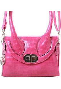 Bolsa Birô Mini Croco Alça Longa Feminina - Feminino-Pink
