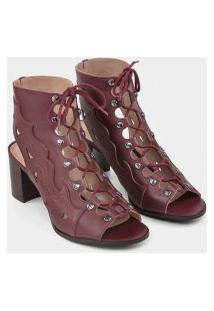 Lez A Lez - Bota Ankle Boot Western Couro Bordo Red Wine