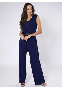 Macacão Pantalona Sem Mangas Azul