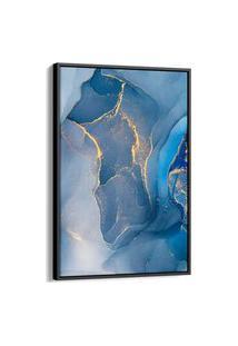 Quadro 90X60Cm Abstrato Resina Azul E Dourado Freyr Canvas Moldura Flutuante Preta