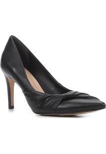 Scarpin Couro Shoestock Salto Alto Torcido - Feminino-Preto