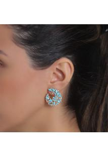 Brinco Rosa Pinhal Zircônias Naturais E Cristais Azul Turquesa Ouro 18K