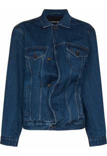 Y/Project Jaqueta Jeans Oversized Assimétrica - Azul