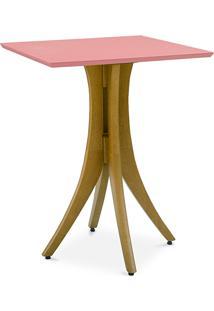 Mesa De Jantar De Madeira Pequena Quadrada Juliette 60X60X77Cm Amêndoa E Rosa Coral