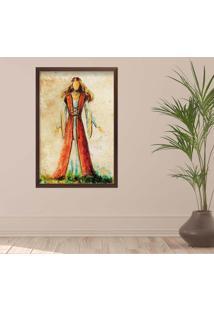 Quadro Love Decor Com Moldura Ilustração Jesus Madeira Escura Grande