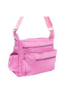 Bolsa Feminina Transversal Esportiva Ou Casual Nylon Grande Impermeável Rosa