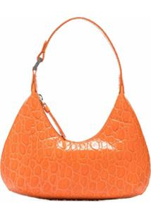 By Far Crocodile-Effect Leather Shoulder Bag - Laranja