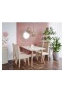 Conjunto De Mesa De Jantar Adele Com Tampo De Vidro Off White E 4 Cadeiras Estofadas Paola Suede Nude E Madeira