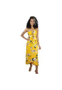 Vestido Mercatto Longo Estampado Amarelo