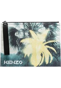 Kenzo Graphic-Print Clutch Bag - Azul