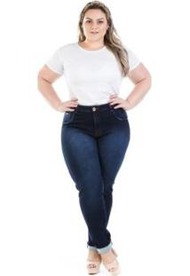 Calça Feminina Jeans Legging Knit Cintura Alta Plus Size - Feminino-Azul Escuro
