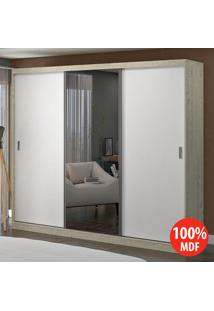 Guarda Roupa 3 Portas C 1 Espelho 100% Mdf 1902E1 Marfim Areia/Branco -Foscarini