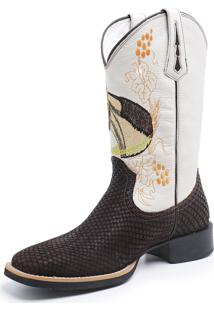Bota Fidalgo Boots Texana Country Tela Café Float Marfim