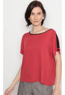 Blusa Com Recortes- Vermelha & Preta- Milioremiliore