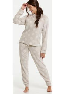 Pijama Feminino Pelúcia Estampa Floco De Neve Marisa