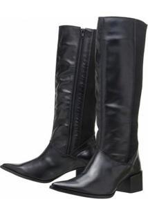 Bota Encinas Leather Montaria Elástico - Feminino-Preto