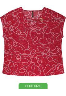 Blusa Com Decote V E Ilhós Vermelho