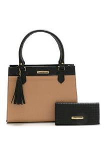 Bolsa Feminina Bicolor Com Carteira Santorini Handbag Tricê Preto/Nude