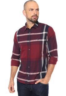 Camisa Acostamento Reta Xadrez Vermelha/Azul-Marinho