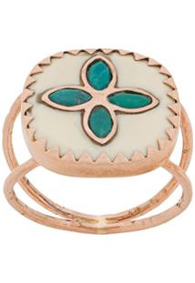 Pascale Monvoisin Anel Bowie N°2 White Turquoise Em Ouro Rosé 9Kt - Dourado