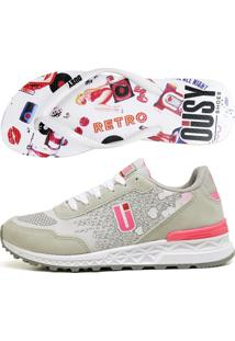 Kit Tênis Chinelo Running Ousy Shoes Alto Verão Cinza Rosa