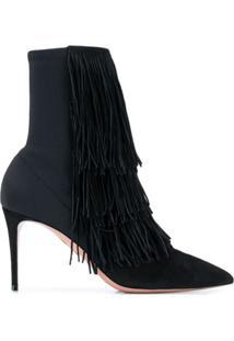 Aquazzura Ankle Boot Com Franjas - Preto