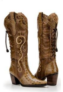 Bota Texana Country Capelli Boots Jacaré Couro Feminina - Feminino-Marrom