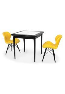 Conjunto Mesa De Jantar Em Madeira Preto Prime Com Azulejo + 2 Cadeiras Slim - Amarelo
